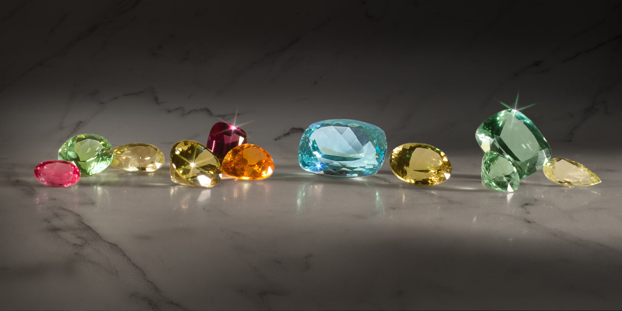 Gemstones on a marble slab