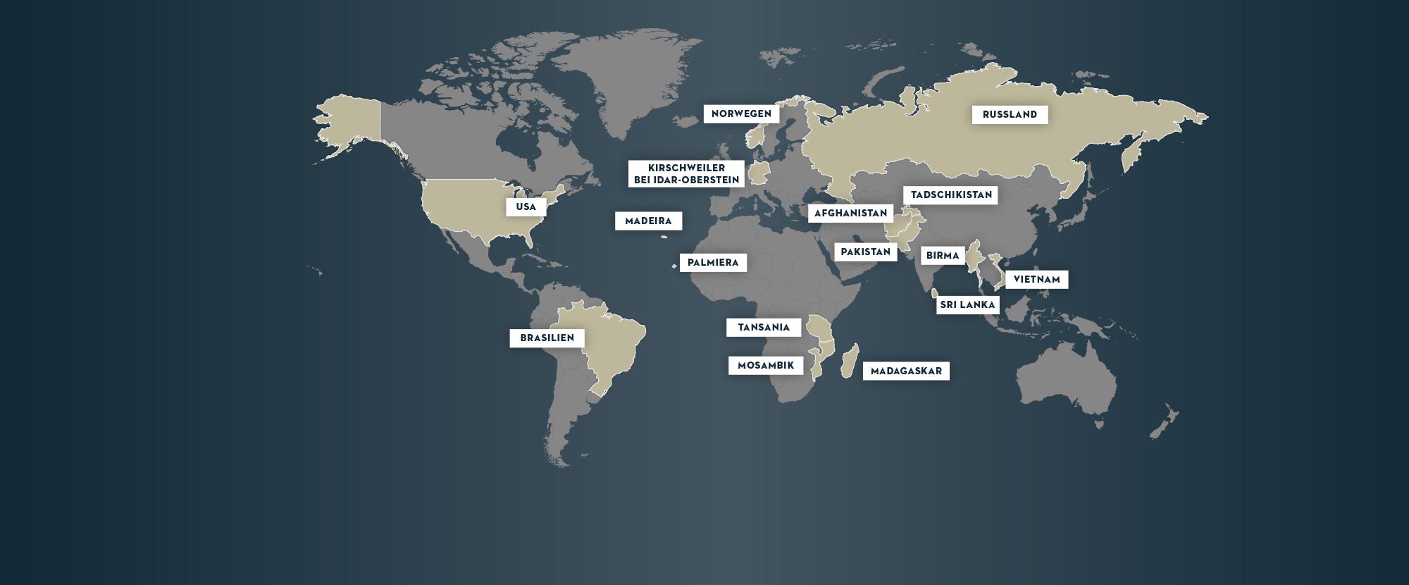 Weltkarte mit bereisten Orten: USA, Brasilien, Madeira, Palmiera, Kirschweiler bei Idar-Oberstein, Norwegen, Tansania, Mosambik, Madagaskar, Afghanistan, Pakistan, Tadschikistan, Birma, Sri Lanka, Vietnam, Russland